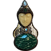 Sajen carved goddess face gemstone pin pendant green cabochon