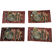 Miniature dollhouse place settings Colonial Craftsmen pewter