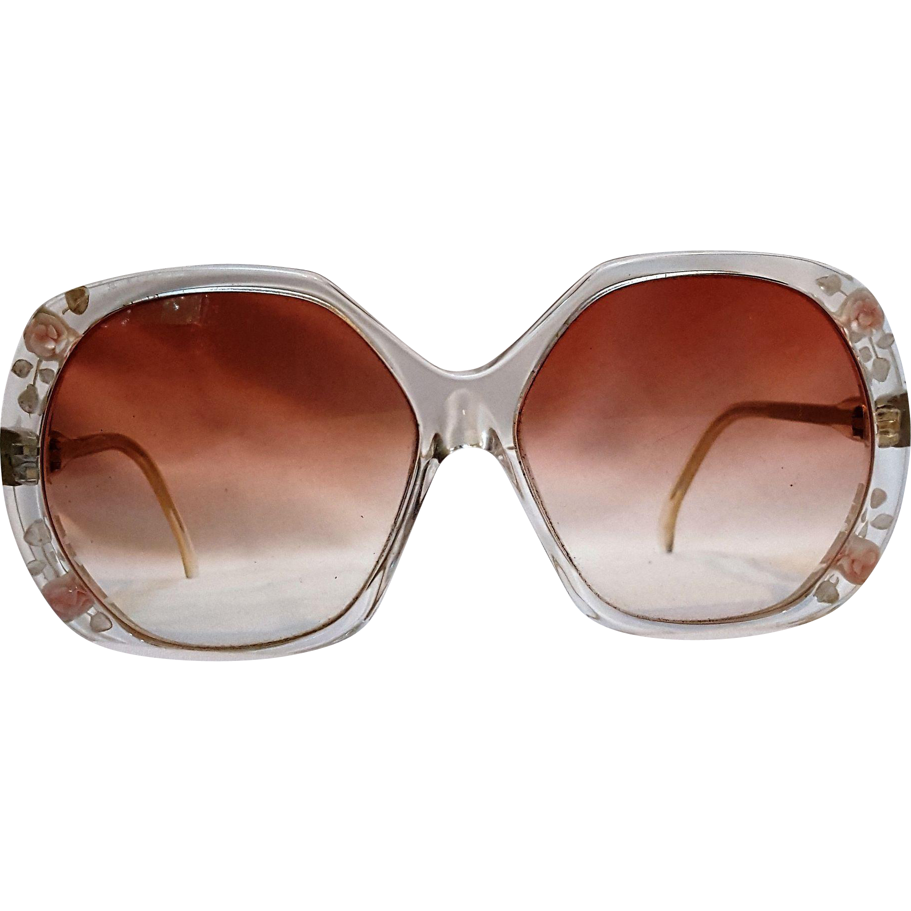 Sun glasses reverse carved painted lucite pink roses