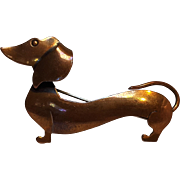 Orb Modernist copper hot dog Dachshund pin