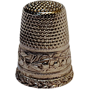 Sterling silver thimble Lily of the Valley
