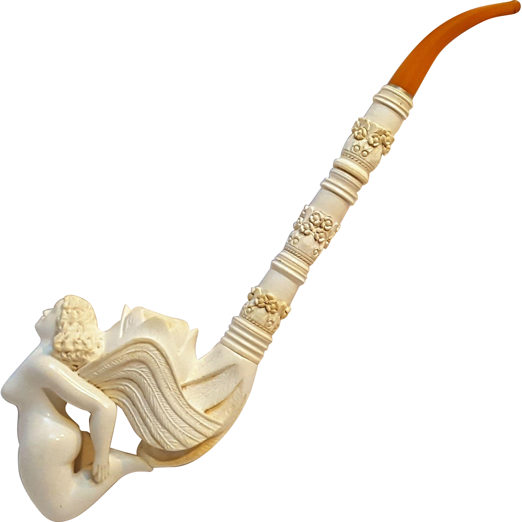 Turkish Meerschaum pipe winged nude fairy lotus flower very long