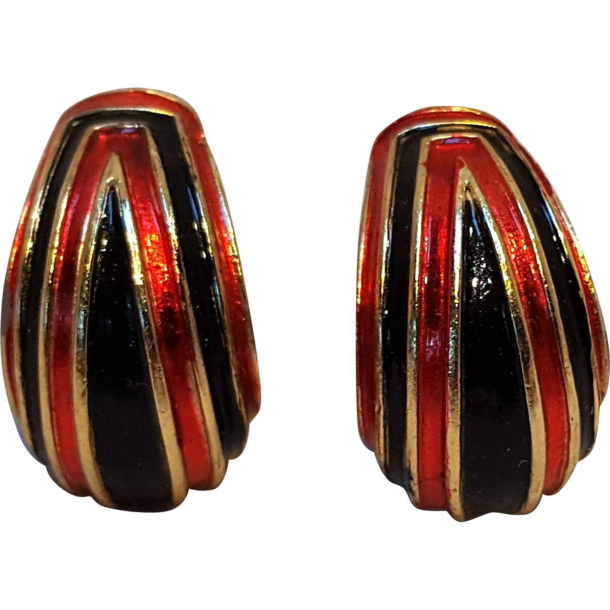 Trifari red black soft enamel clip earrings