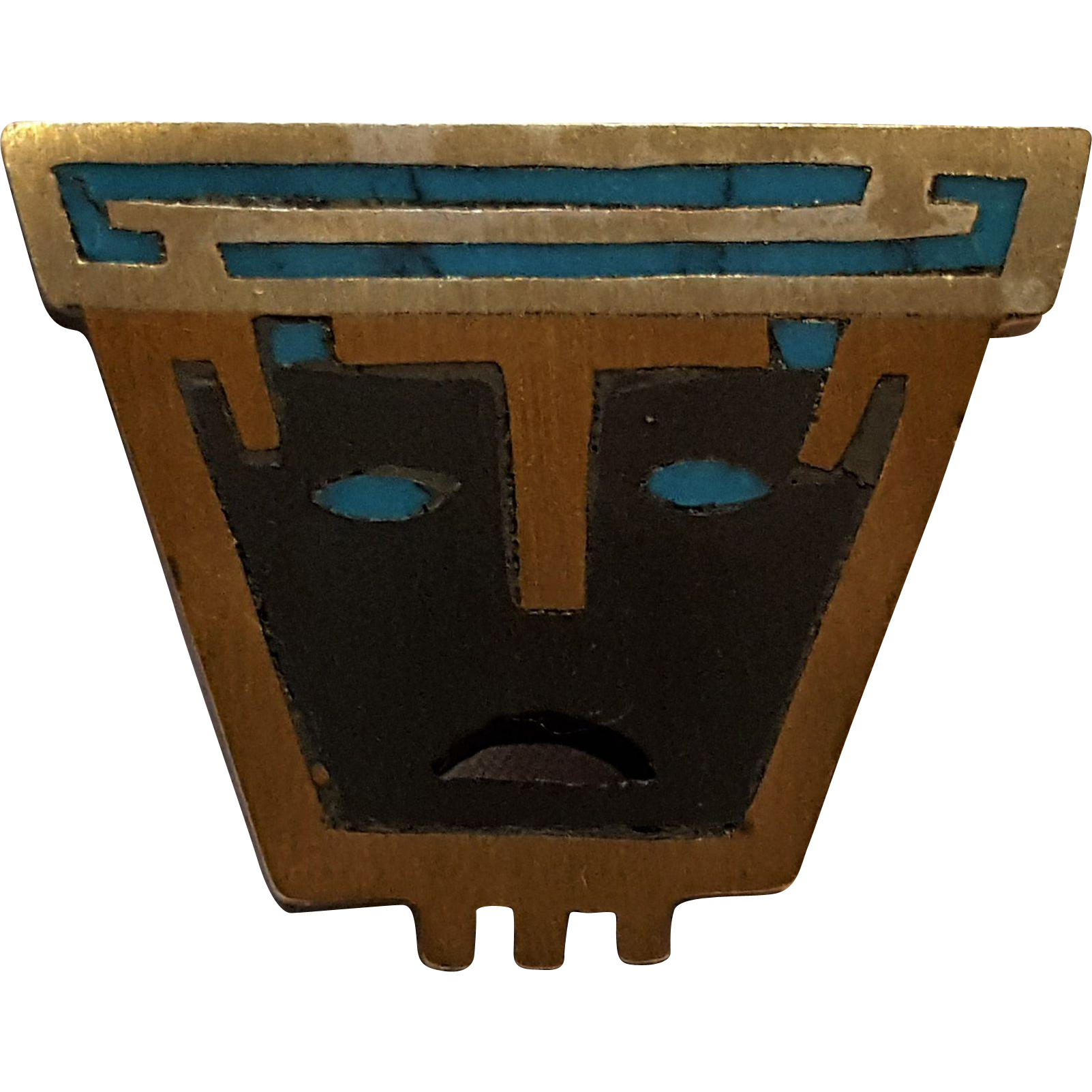 Piedra Negra Taxco Mexico Tono sterling inlay mask pin