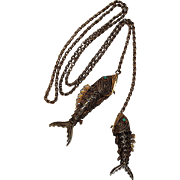 Chinese gilt silver filigree fish vinaigrette lariat necklace
