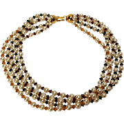 Napier bead necklace five strand simulated pearl crystal
