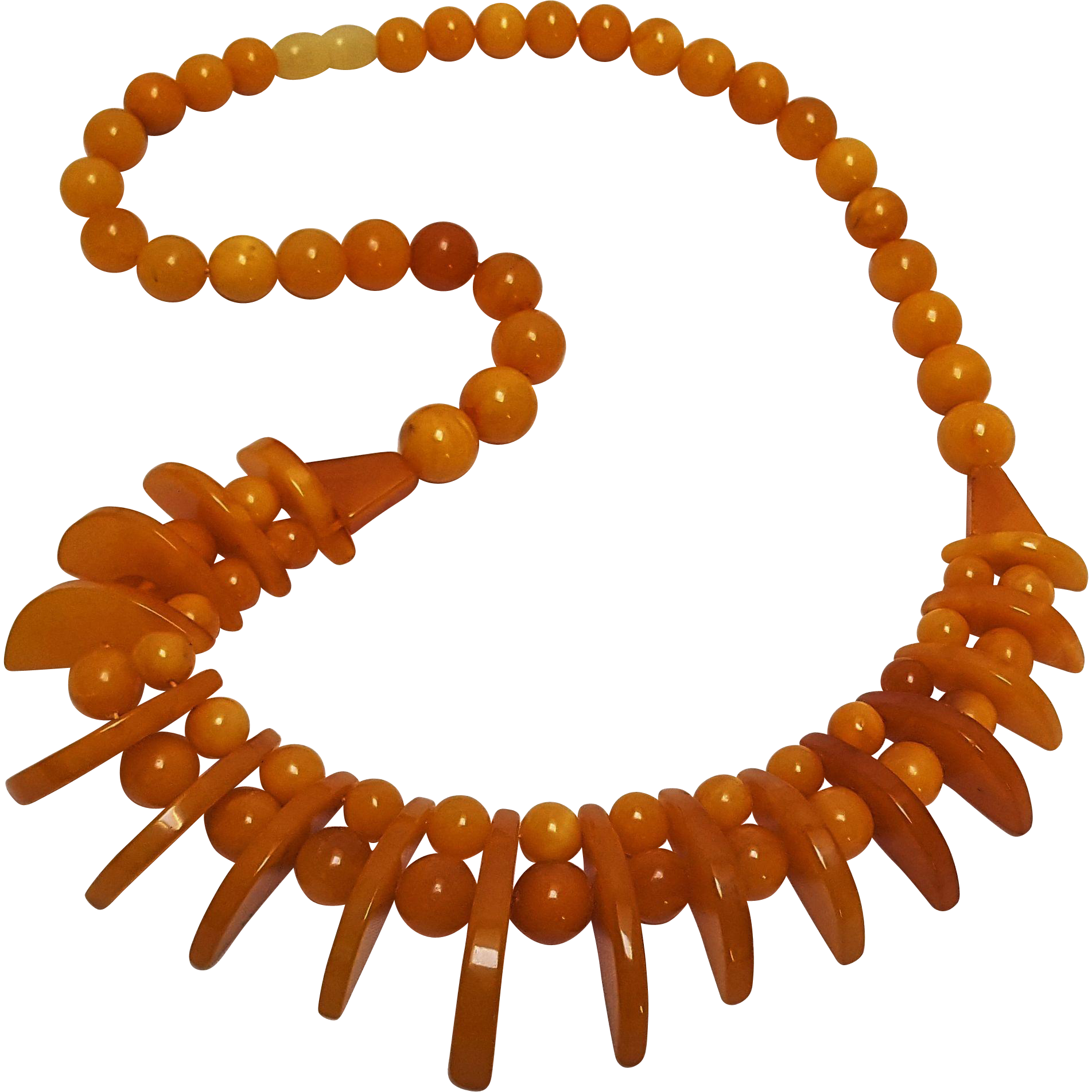 Natural butterscotch Baltic amber necklace Art Deco round and geometric beads