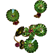 Margarita crystal rhinestone pin earrings green