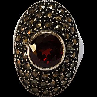 Judith Jack red garnet Sterling silver marcasite  ring