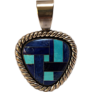 Relios sterling silver pendant turquoise lapis mosaic inlay