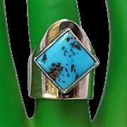 Les Baker southwest sterling silver turquoise ring Modernist