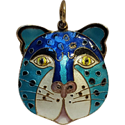 Silver enamel puffy cat pendant