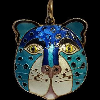 Silver enamel puffy cat pendant