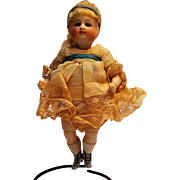 """Rare Kestner antique bisque 5 1/2"""" doll jointed knees blue shoes"""