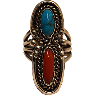 Stover Paul sterling silver turquoise coral ring Navajo Native American