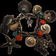 Shell ocean theme charm bracelet rhinestone fish