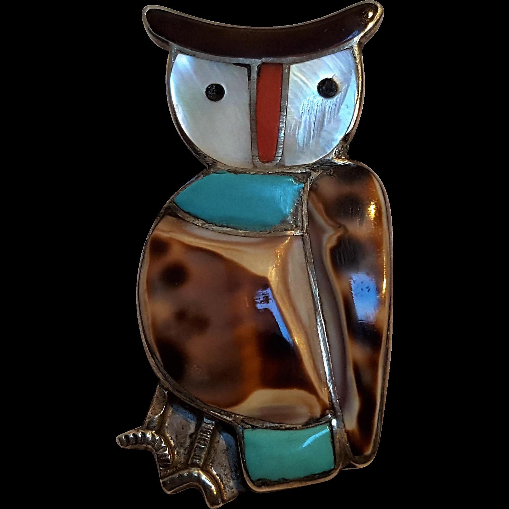 Velma Lesansee Zuni sterling silver inlay owl pin pendant