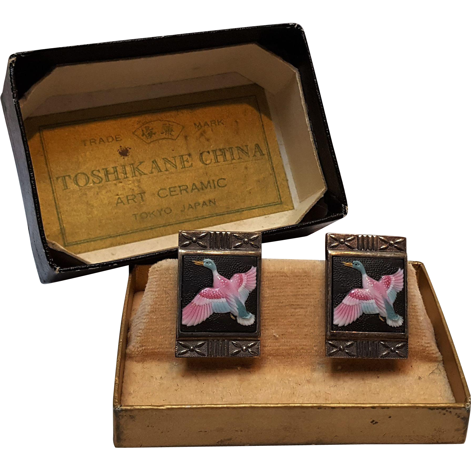 Toshikane silver enamel porcelain earrings ducks original box