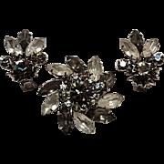 Smoke rhinestone pin earrings boxed set