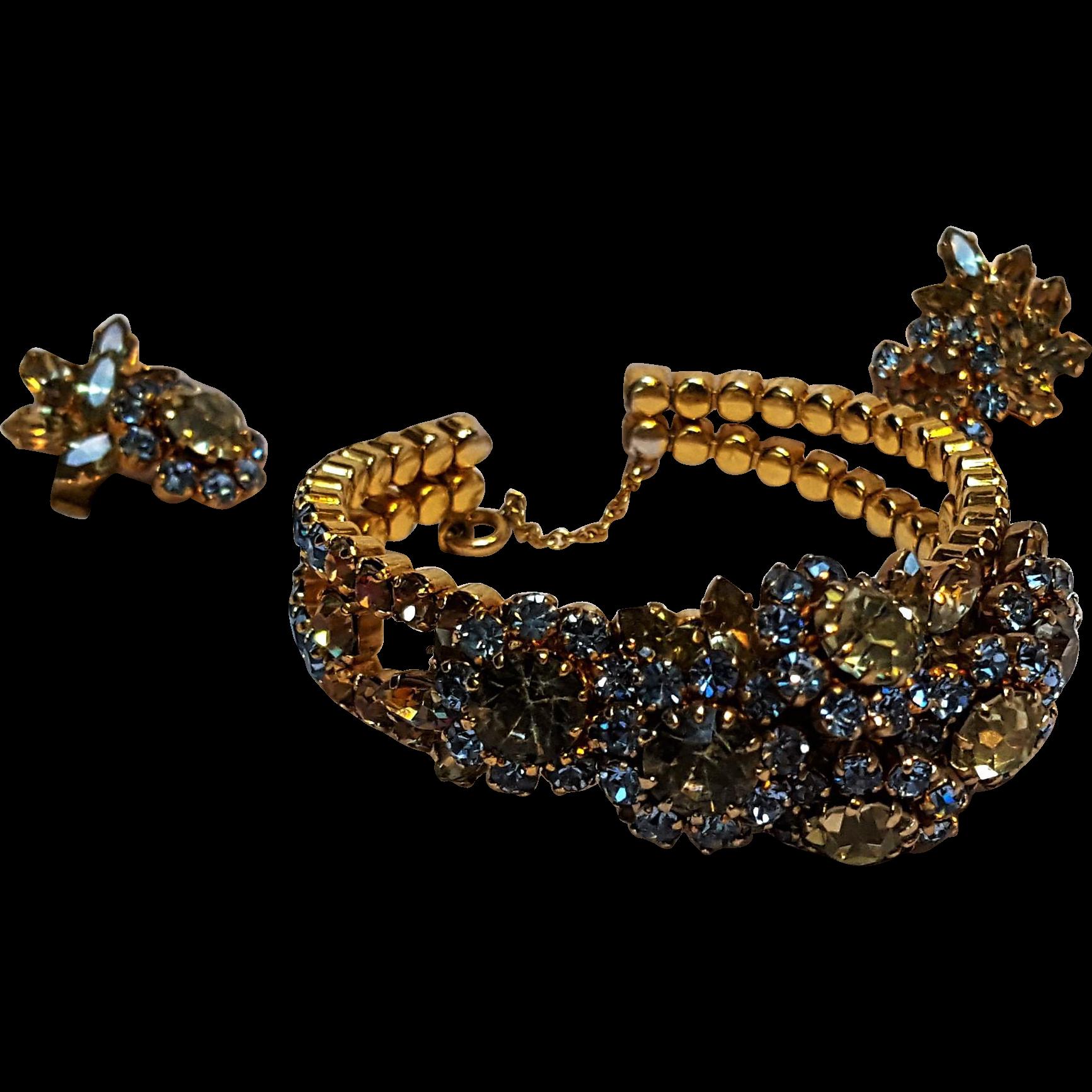 Schoffel Austria rhinestone bracelet earrings set flowers blue yellow