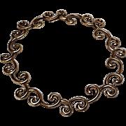 Angela Cummings Studio spiral swirl collar choker necklace sterling silver