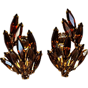 Schoffel Austria rhinestone earrings thin navettes
