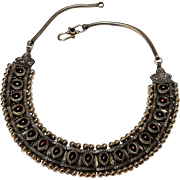Sudha sterling silver garnet necklace eastern motif