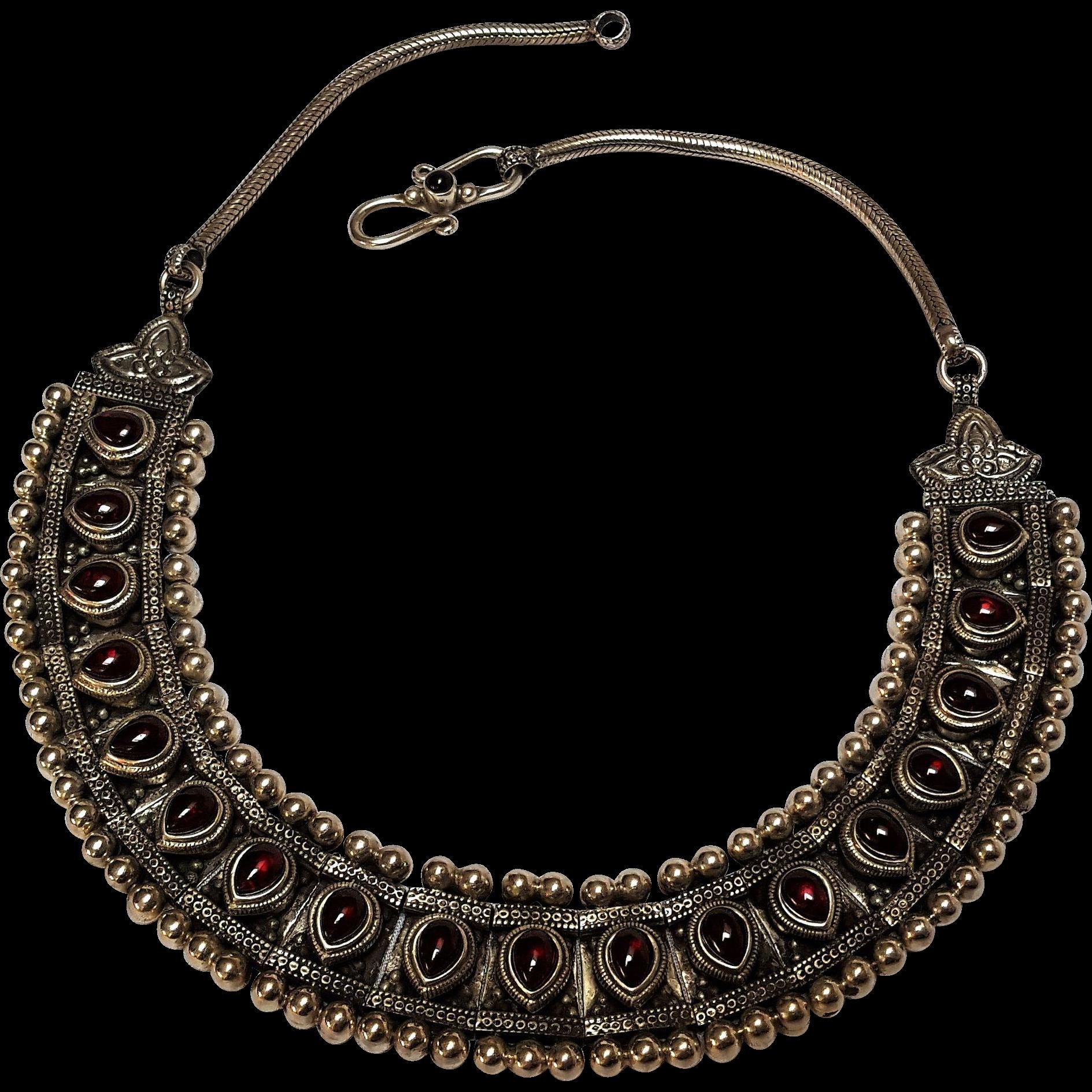 Sudha sterling silver garnet necklace eastern motif