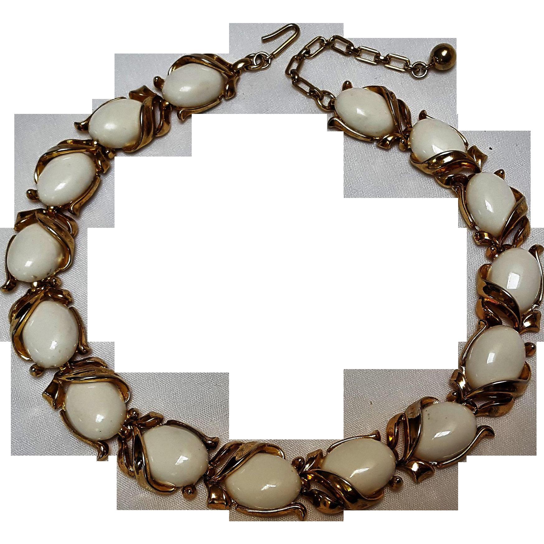 Trifari choker necklace white lucite cabochons