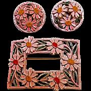Mode Art pink enamel flower pin clip earrings set