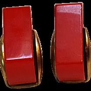Bakelite clip earrings red