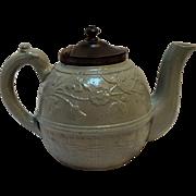 Antique English Miniature salt glazed teapot  moss green