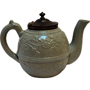 Antique English Miniature salt glazed teapot  moss green