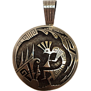 Hyson Craig sterling silver overlay reversible pendant Kokopelli Man in Maze