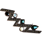 Sterling silver marcasite zig zag pin mother of pearl green stone