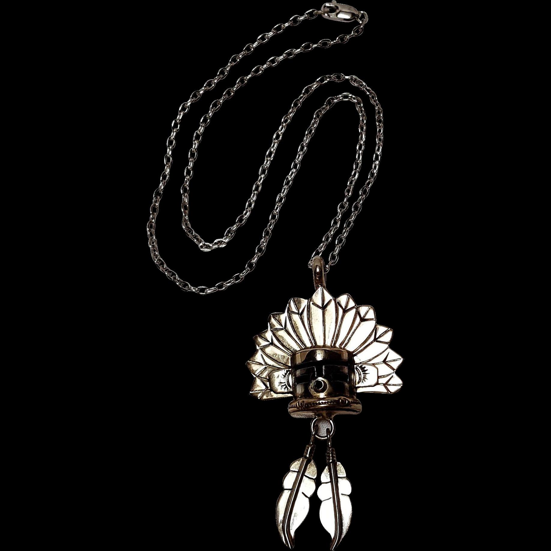Gary G Southwest Kachina feathers pendant necklace
