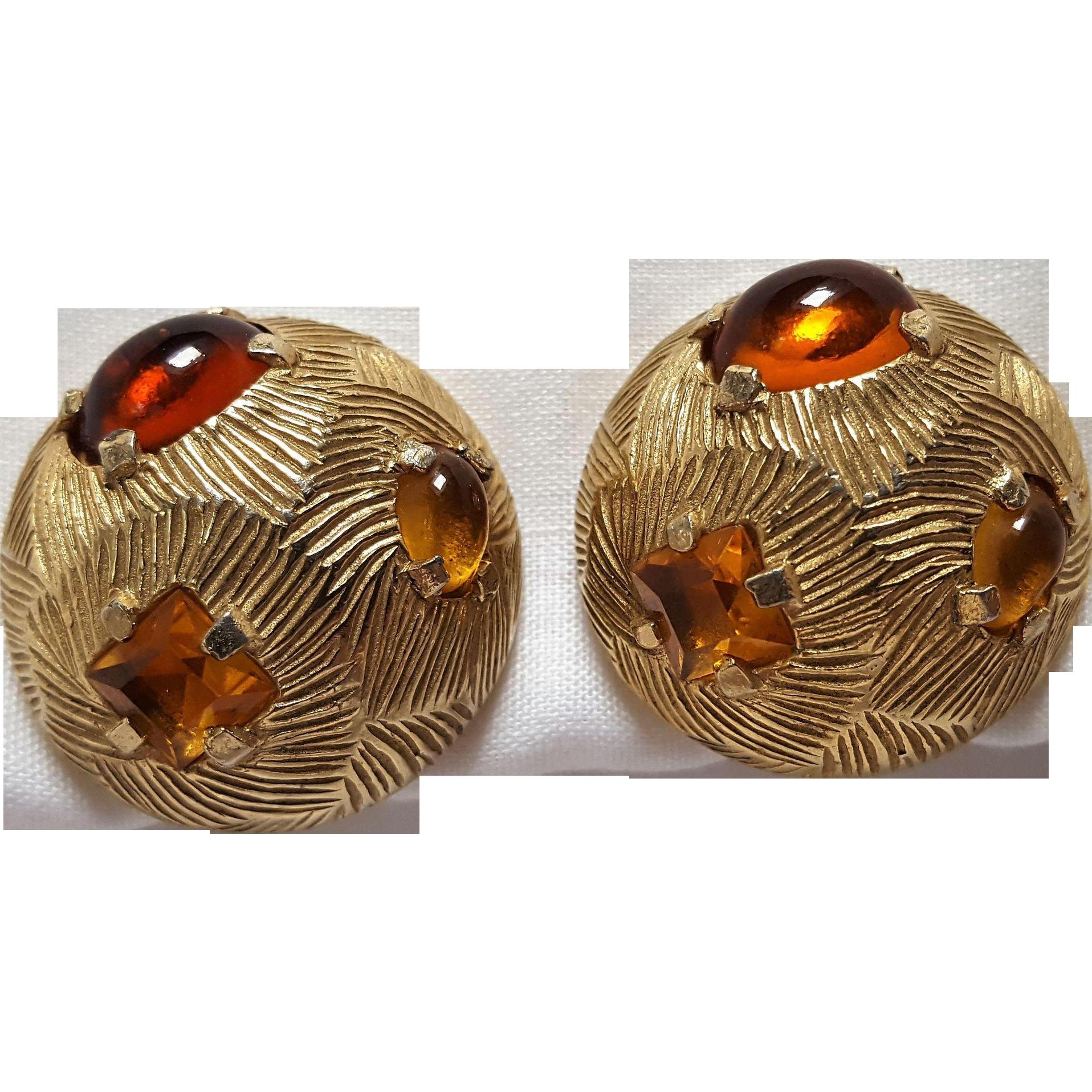 Castlecliff clip earrings amber glass cabochons rhinestone