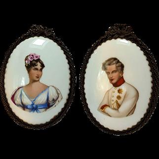 Antique miniature portrait plaques lady gentleman on milk  glass