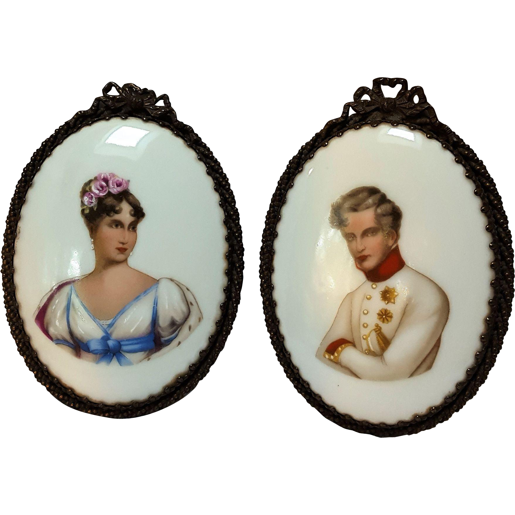 Antique miniature portrait plaques lady gentleman on milk  glass