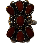 Southwest silver red coral ring