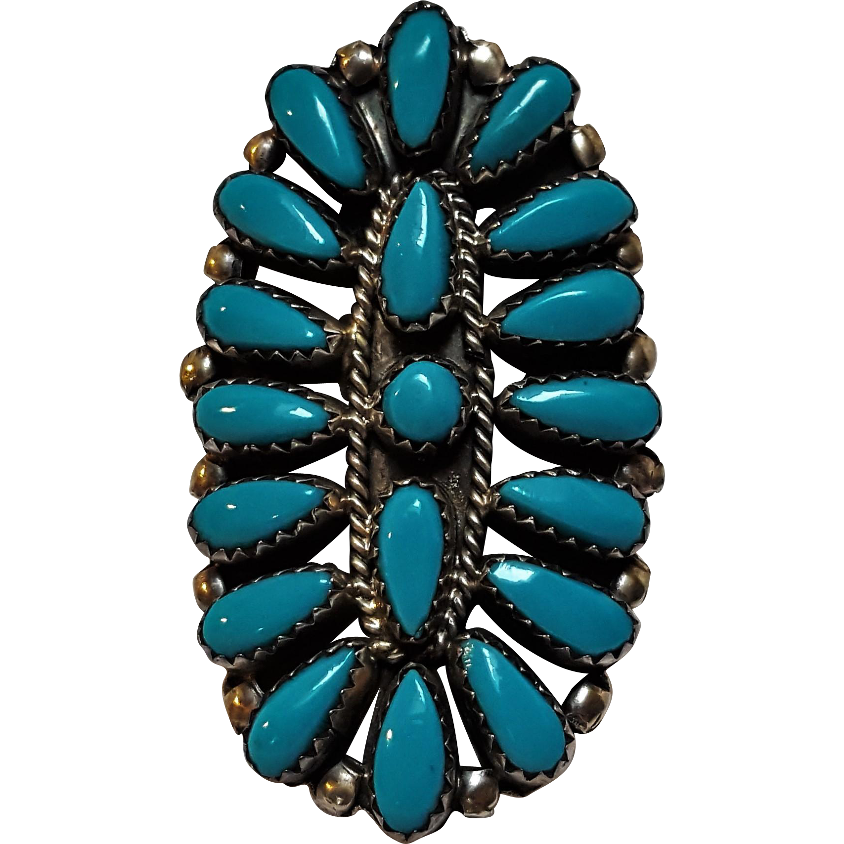 P Jones Navajo turquoise cluster ring sterling silver