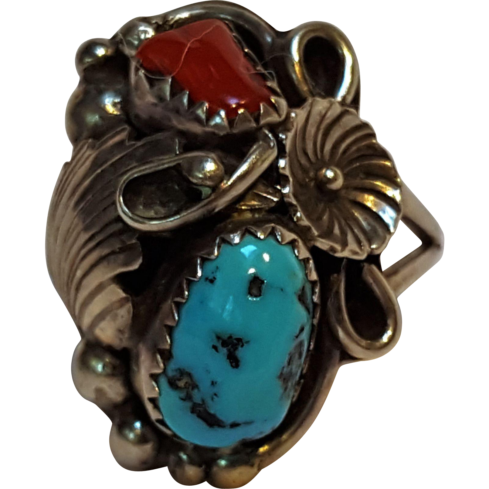 Pete Morgan Navajo sterling silver turquoise coral ring