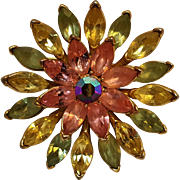 Trifari rhinestone flower pin pink green yellow
