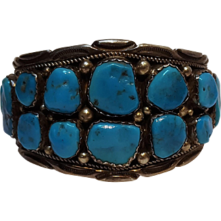Tommy Singer sterling silver turquoise Navajo cuff bracelet