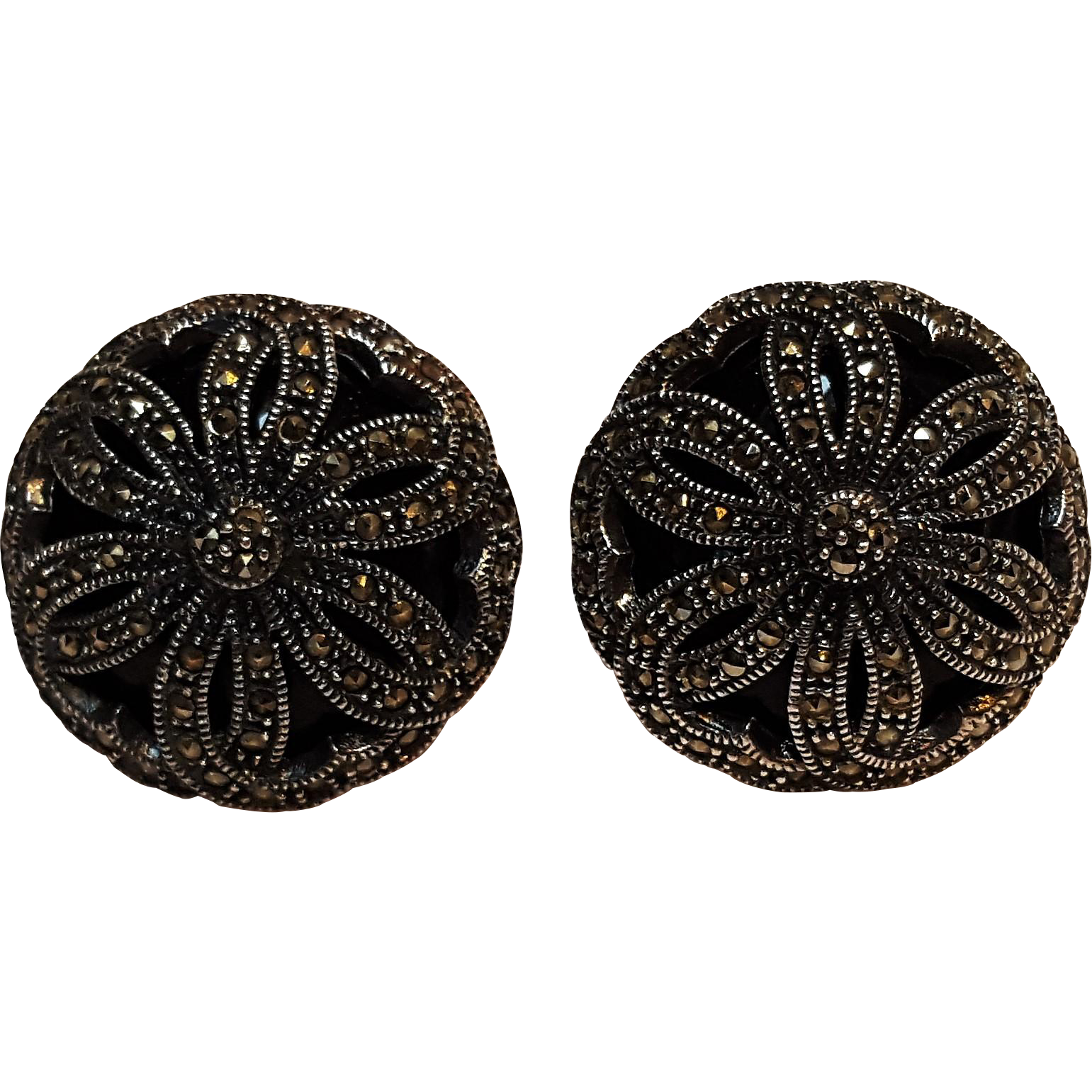 Judith Jack onyx sterling silver marcasite earrings