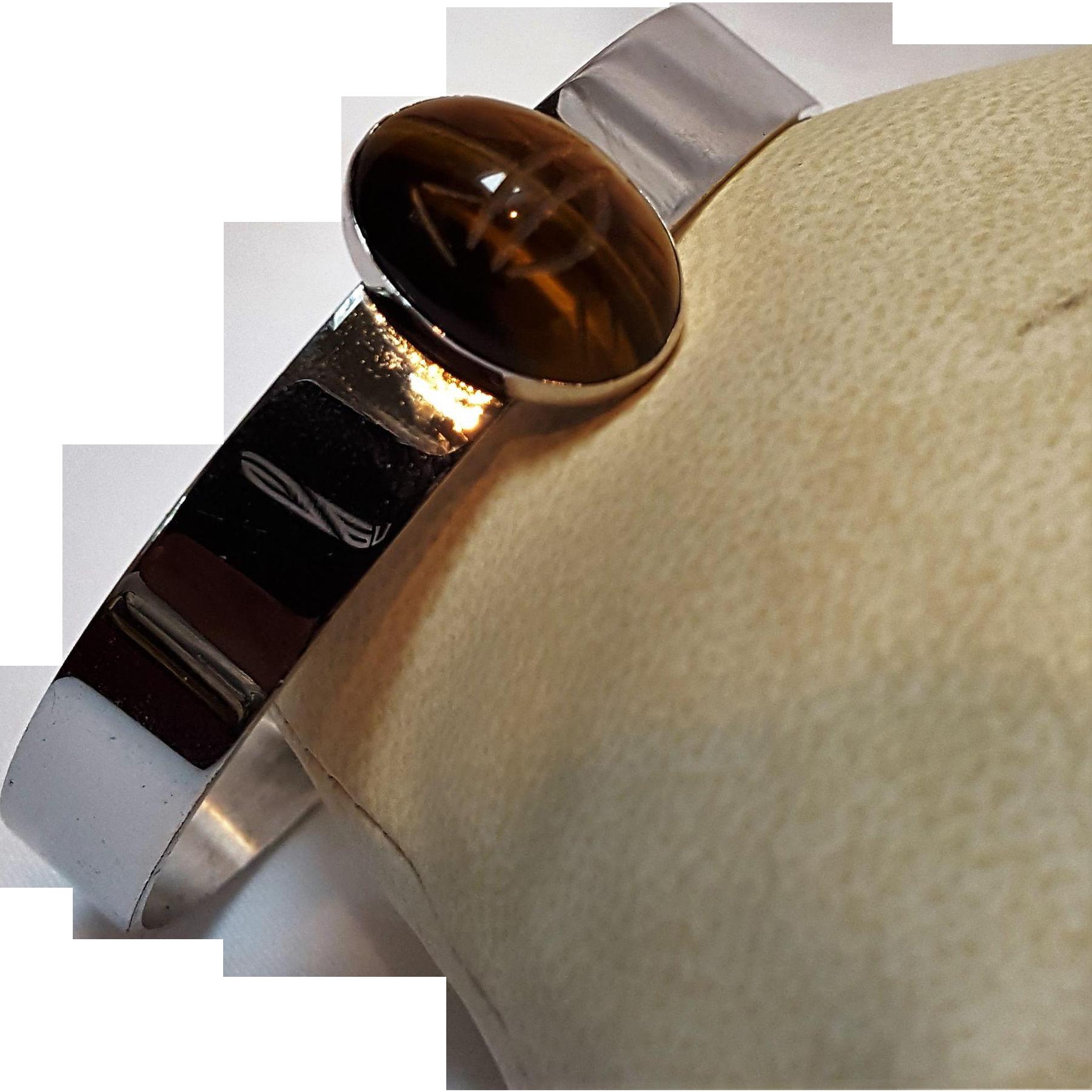 Danecraft sterling silver tigers eye scarab  cuff bracelet