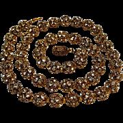 Prong set rhinestone bead necklace