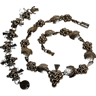 Taxco sterling silver Mexico necklace bracelet grapes