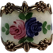 Clark Coombs sterling silver enamel ring roses