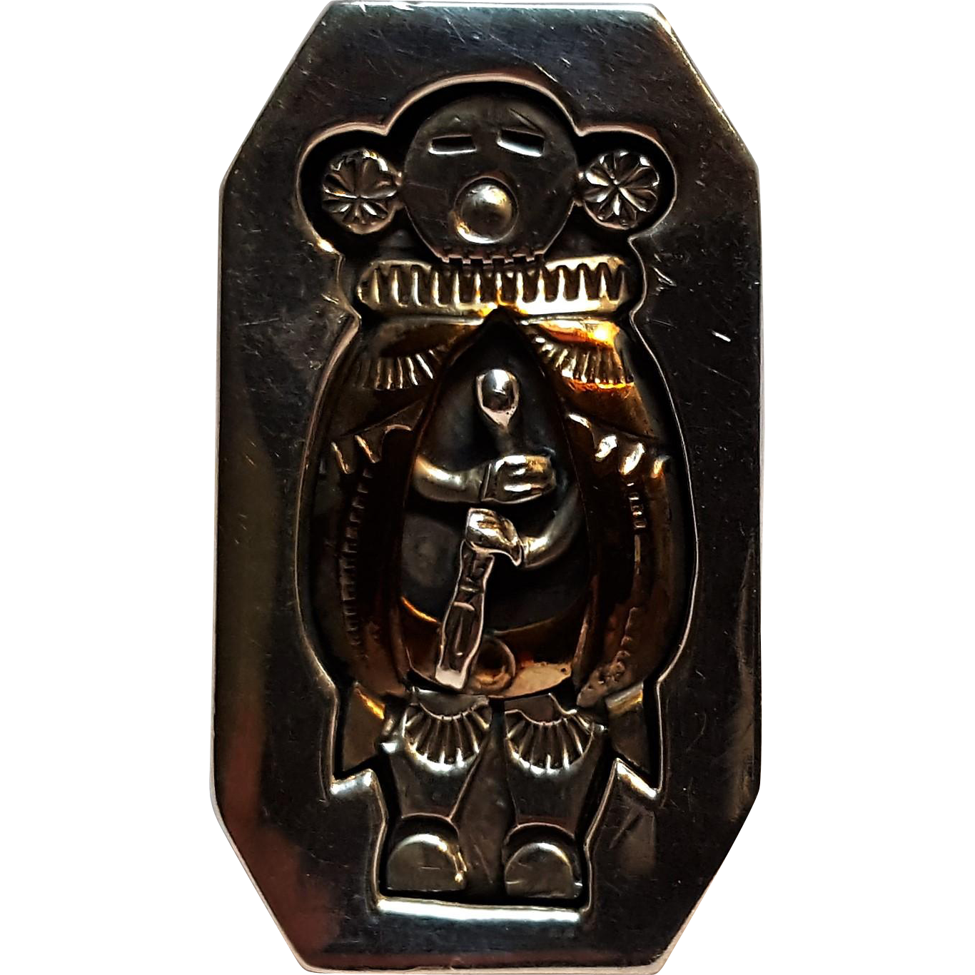 Wes Craig Navajo ring sterling 12K gf medicine man shadow box